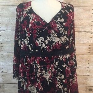 Women's Apt 9 Red Black Multicolor Floral Blouse